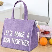 Slogan Graphic Insulation Lunch Bag