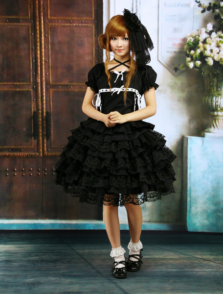 Milanoo Black Lolita OP Dress Short Sleeves with Ruffles and Lace Trims
