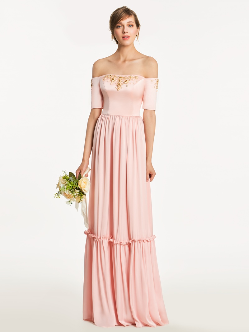 Ericdress Off The Shoulder Short Sleeves A Line Long Bridesmaid Dress