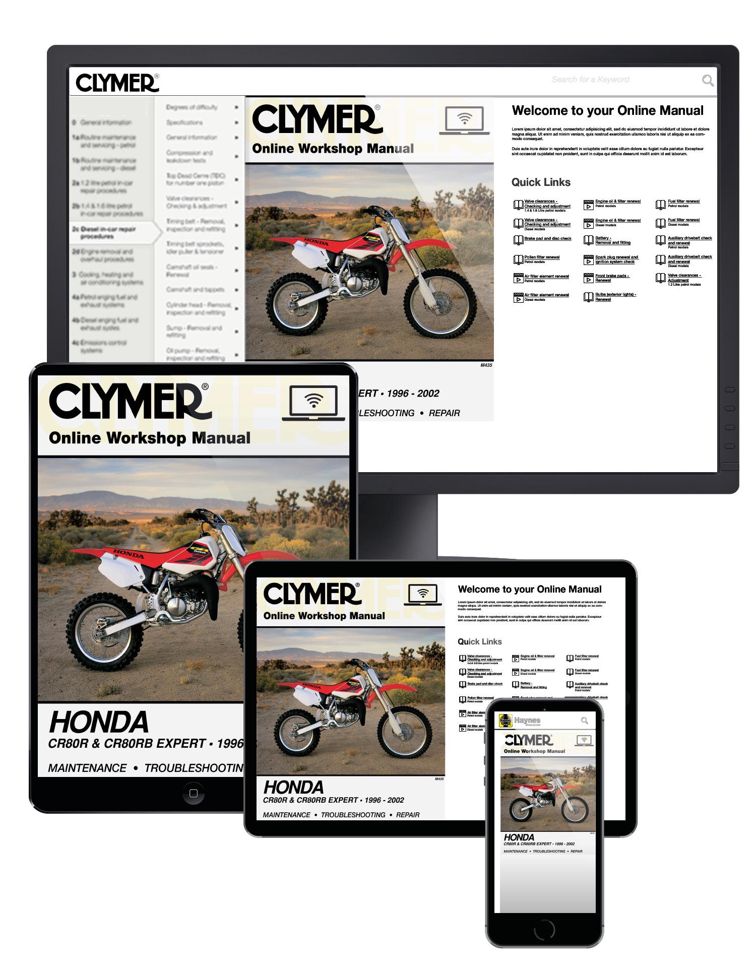 Honda CR80R & CR80RB Expert Motorcycle (1992-1996) Service Repair Manual Online Manual