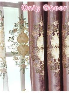 Purple Floral Pattern Sheer Elegant Style Room For Decoration