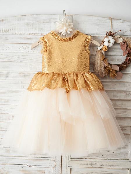 Milanoo Flower Girl Dresses Jewel Neck Sequined Sleeveless Knee Length Princess Silhouette Bows Kids Party Dresses