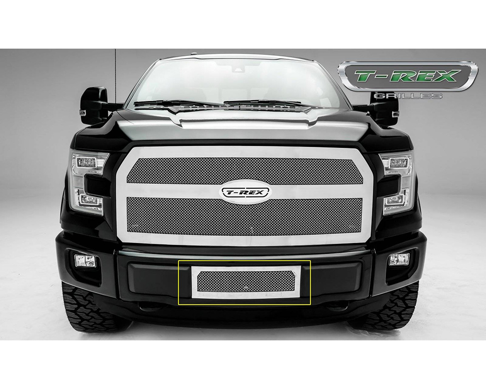 2015-2017 F-150 Upper Class Bumper Grille, Polished, 1 Pc, Insert, Eco Boost - PN #55573