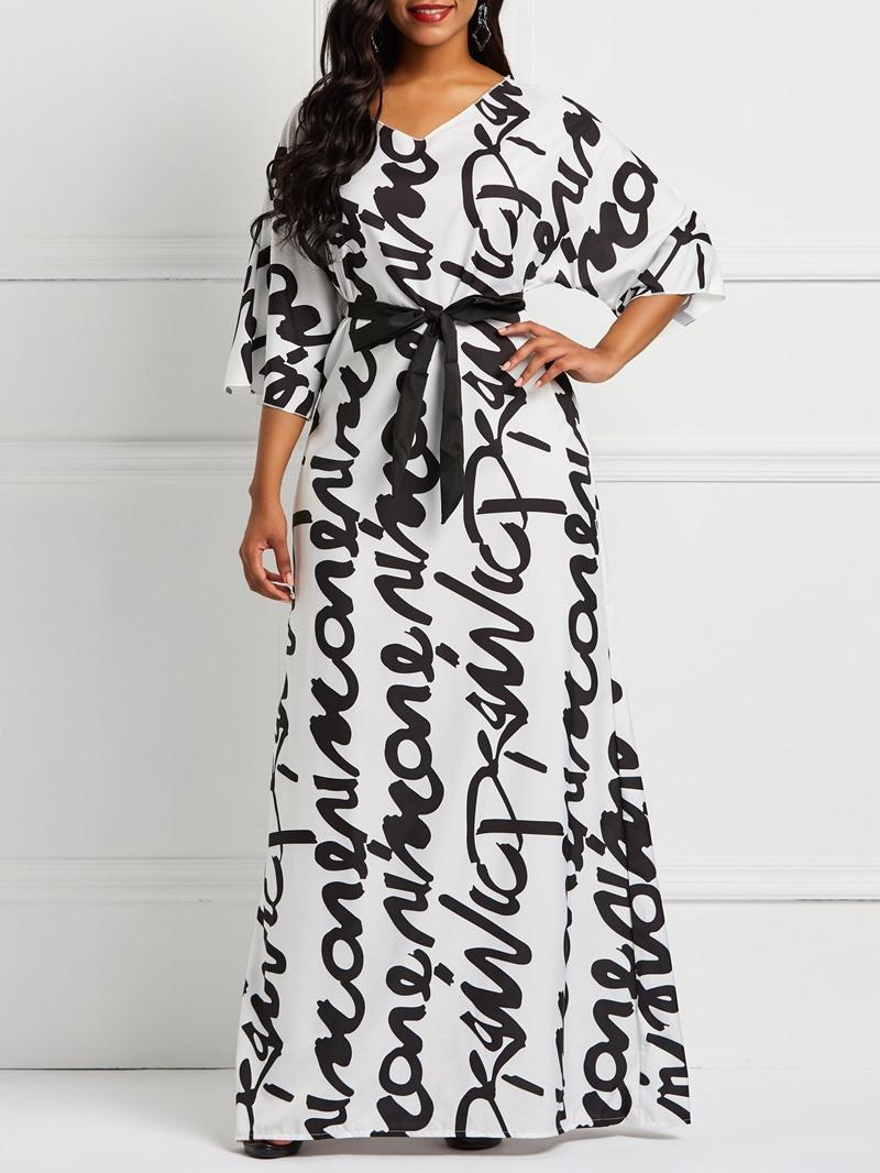 Ericdress Floor-Length Straight Letter Print Dress
