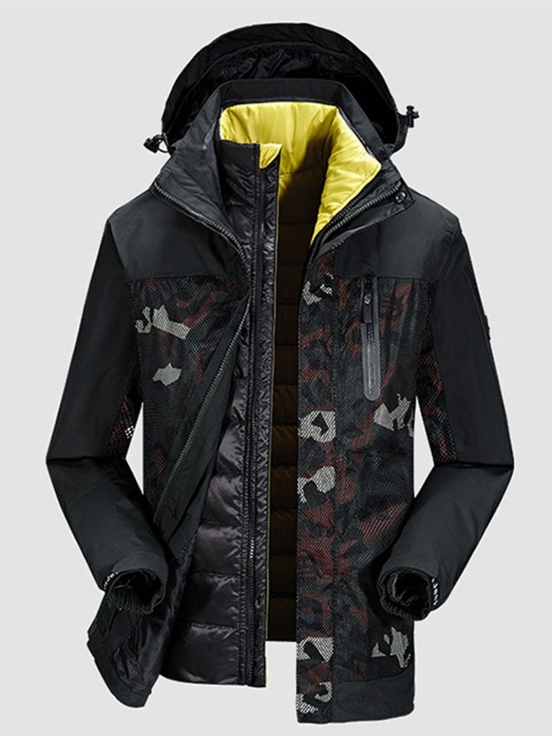 Ericdress Color Block Hooded Mid-Length Casual Zipper Men's Down Jacket