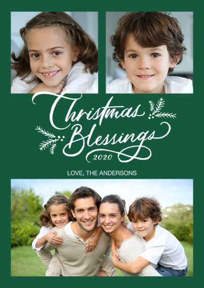 Christmas Photo Cards Flat Glossy Photo Paper Cards with Envelopes, 5x7, Card & Stationery -Christmas Blessings Photo Collage by Hallmark