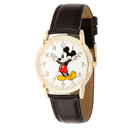 Disney Mickey Mouse Mens Black Leather Strap Watch-Wds000405, One Size , No Color Family