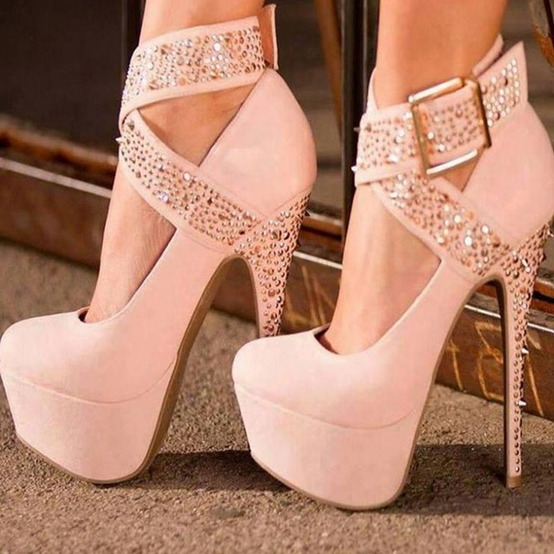 Ericdress Fashion White Suede Ankle Wrap Stiletto Heels With Straps