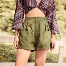 Double Pocket Plicated High Waist Shorts