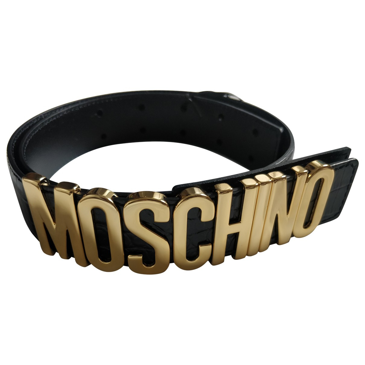 Moschino \N Black Leather belt for Women 75 cm