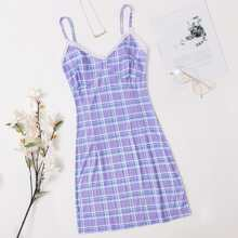 Plaid Lace Trim Cami Nightdress
