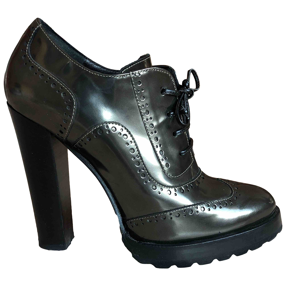 Non Signé / Unsigned \N Grey Patent leather Heels for Women 39 EU