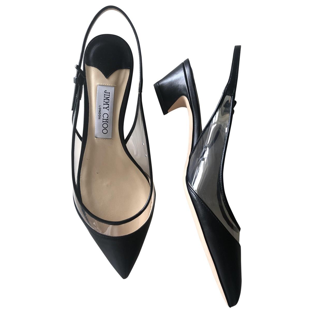 Jimmy Choo \N Black Leather Heels for Women 38 IT