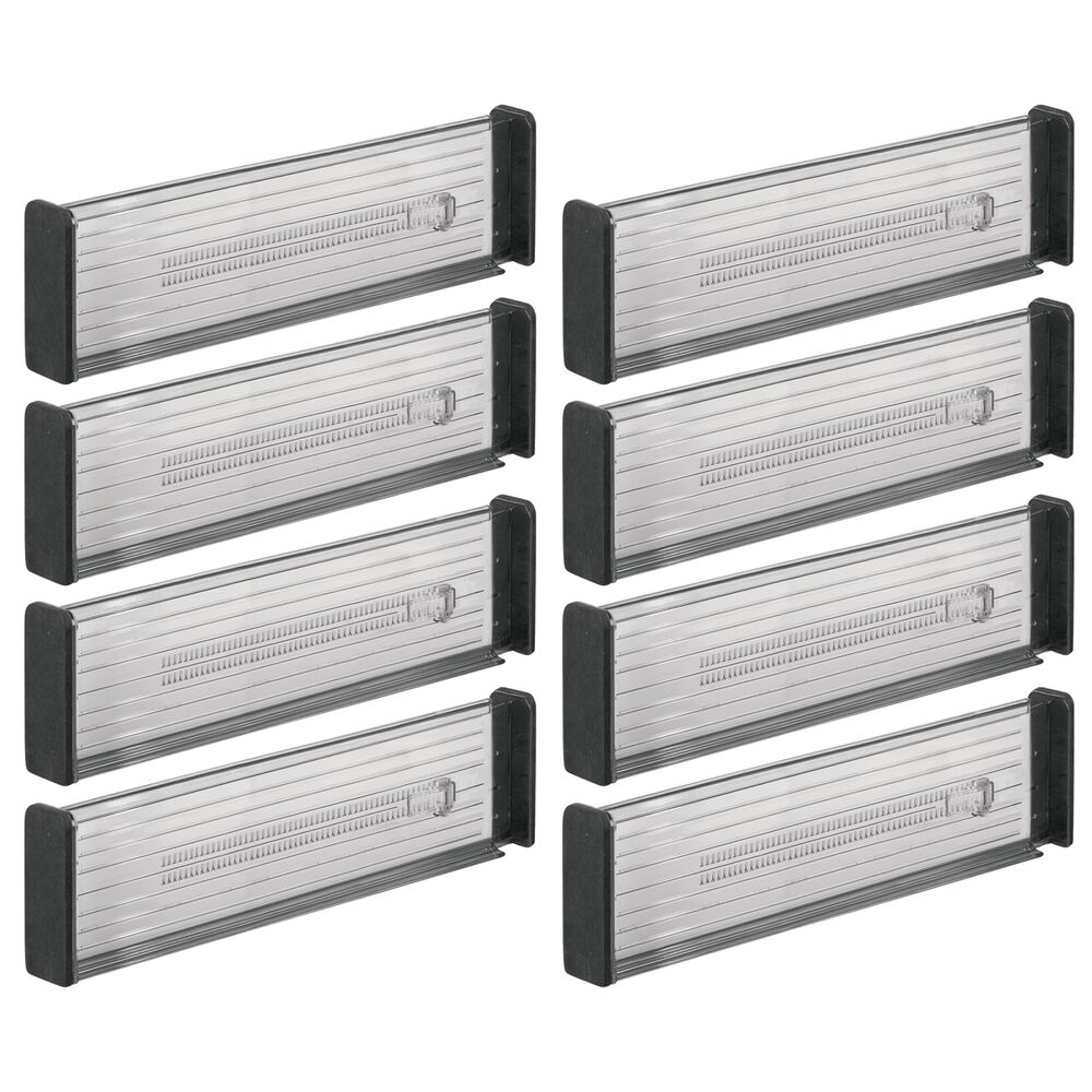 Plastic Adjustable Drawer Divider for Kitchen Storage in Smoke Gray/Black, 13.25