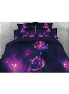 Purple Rose Printed 3D 5-Piece Comforter Sets