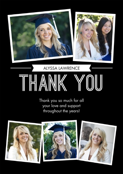 Graduation Thank You Cards 5x7 Cards, Standard Cardstock 85lb, Card & Stationery -Grad Thank You Snapshots by Tumbalina
