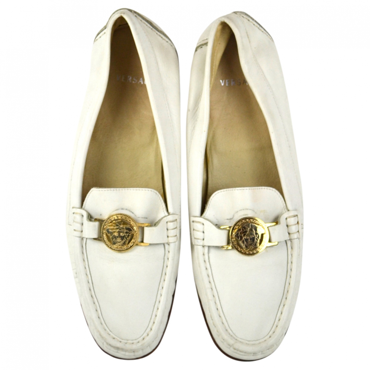 Versace \N White Leather Flats for Women 40 EU
