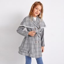 Girls Double Button Front Self Belted Tartan Coat With Cape