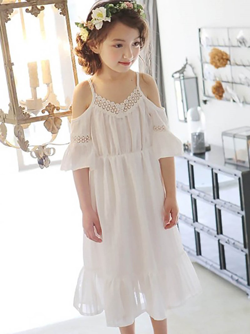 Ericdress Ruffles Backless Lace Spaghetti Strap Girl's Dress