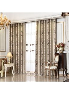 Elegant Light Brown with Smooth Polyester 2 Panels Living Room Custom Curtain