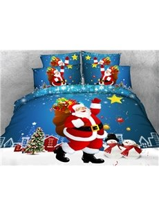 Smiling Santa Claus and Snowman Printed Cotton 3D 4-Piece Bedding Sets/Duvet Covers