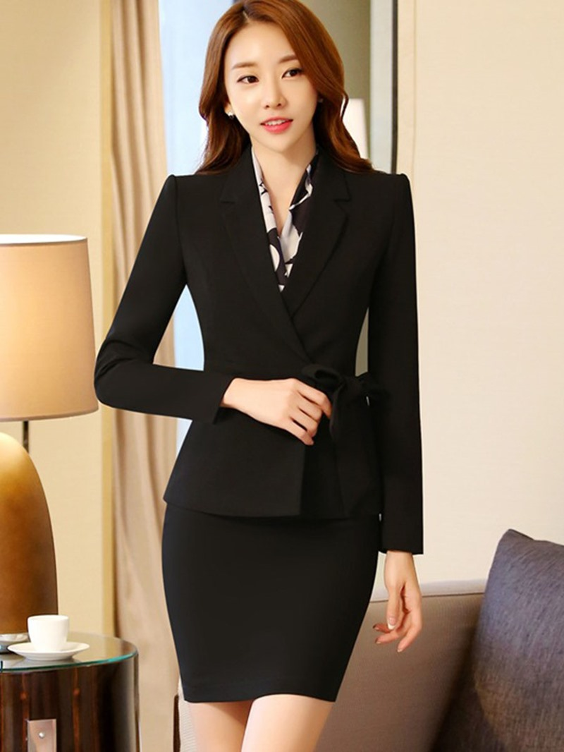 Ericdress Bowknot Blazer and Skirt Women's Suit