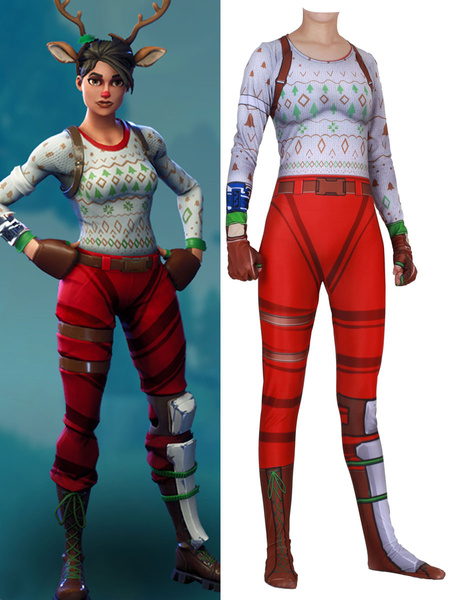 Milanoo Fortnite Cosplay Costumes Red Fortnite Game Red Nosed Raider Leotard Jumpsuit Lycra Spandex Adults Game Cosplay Costumes