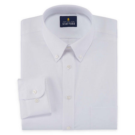 Stafford Mens Wrinkle Free Oxford Button Down Collar Big and Tall Dress Shirt, 22 38-39, White