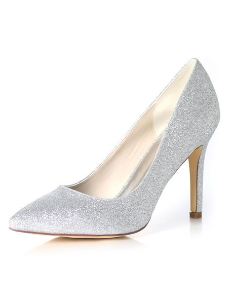 Milanoo Champagne Bridesmaid Shoes Glitter Wedding Shoes Women Pointed Toe High Heel Prom Shoes