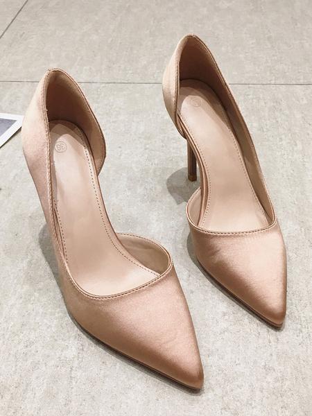 Milanoo Black High Heels Satin Pointed Toe Stiletto Heel Dress Shoes