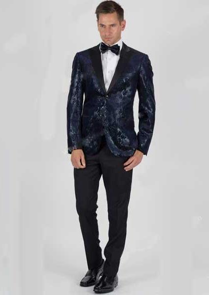Velvet Snake Skin Slim Fit 2 Button Navy Jacket With Matching Bowtie