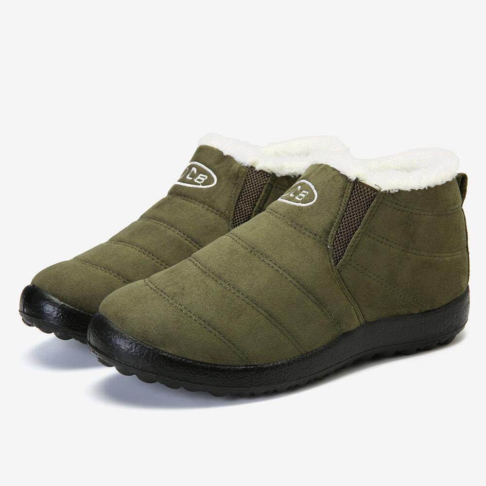 Suede Round Toe Lightweight Warm Fur Ankle Snow Boots