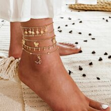 5pcs Butterfly & Moon Decor Anklet