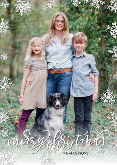 Christmas Photo Cards 5x7 Cards, Premium Cardstock 120lb with Rounded Corners, Card & Stationery -Christmas Snowflakes Script by Tumbalina