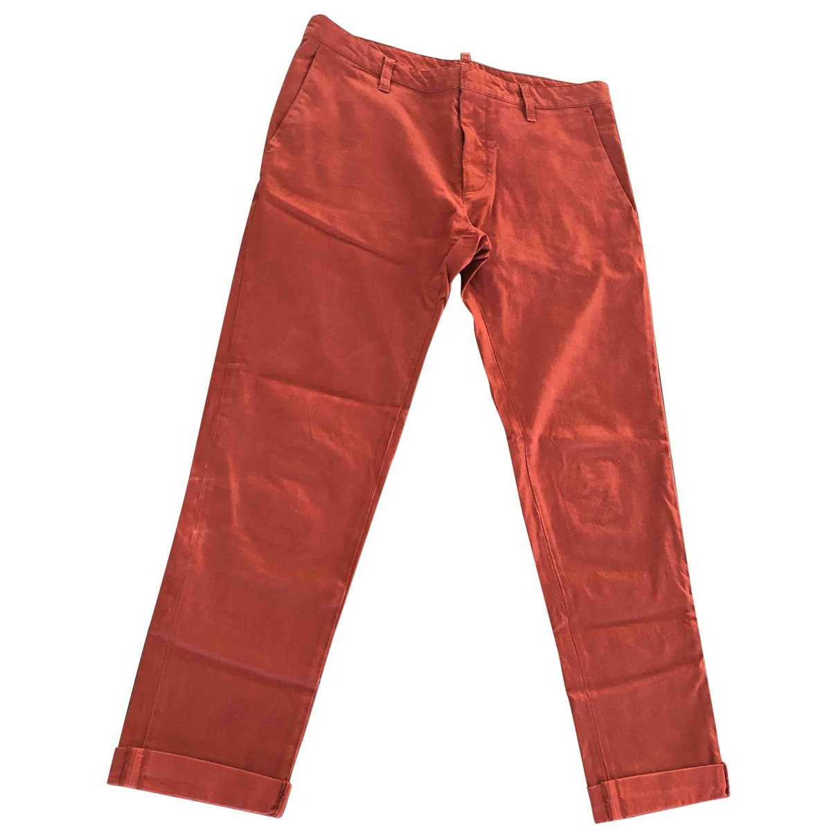 Dsquared2 \N Burgundy Cotton Trousers for Men 48 IT