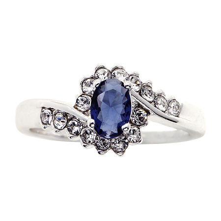 Sparkle Allure Crystal Pure Silver Over Brass Cocktail Ring, 8 , No Color Family