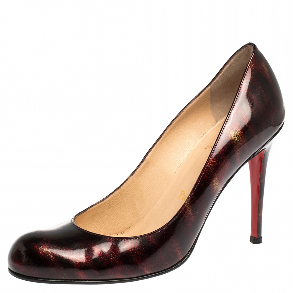 Christian Louboutin Simple pump Burgundy Patent leather Heels for Women 8 US