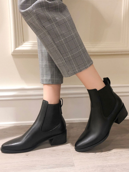 Milanoo Women Chelsea Boots Ankle Boots Cowhide Leather Block Heel Booties