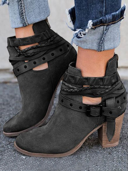 Milanoo Black Ankle Boots Women Round Toe Buckle Chunky Heel Booties