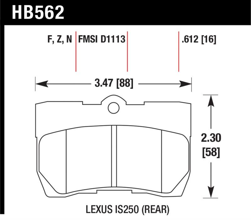 Hawk Performance HB562F.612 Disc Brake Pad Lexus Rear