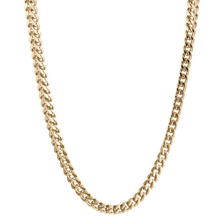 Mens Stainless Steel & Gold-Tone IP 20 4mm Foxtail Chain, One Size , Yellow