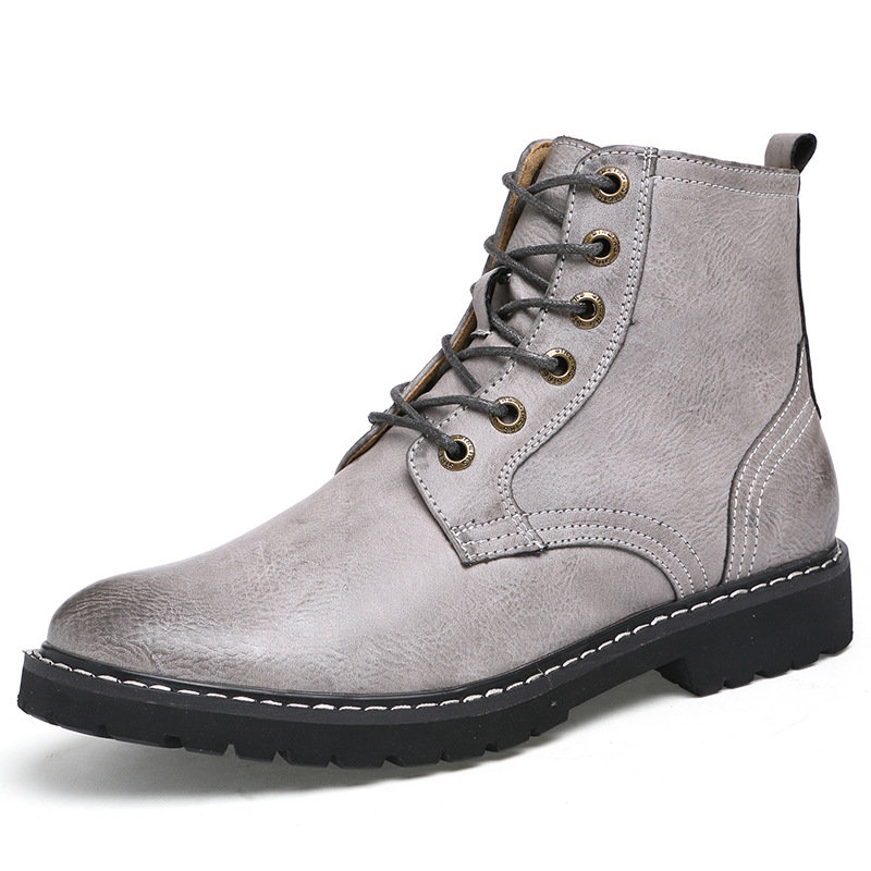 Men's Vintage Classic Metal Eyelets High Top Lace Up Work Boots