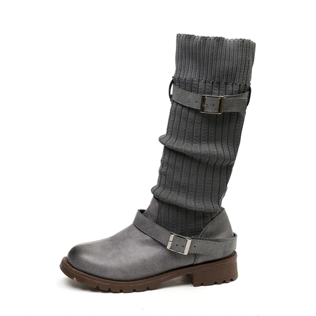 Yoins Grey Buckle Detail Mid-Calf Knitted Boots