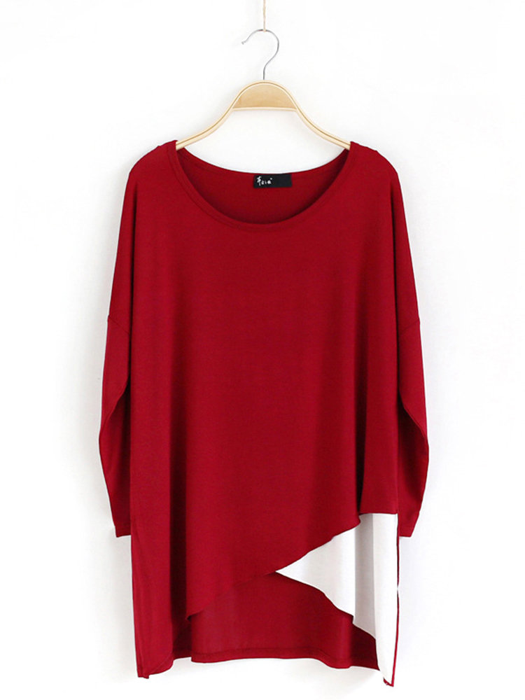 Color Patchwork Asymmetrical Medium Long Pullover Shirt