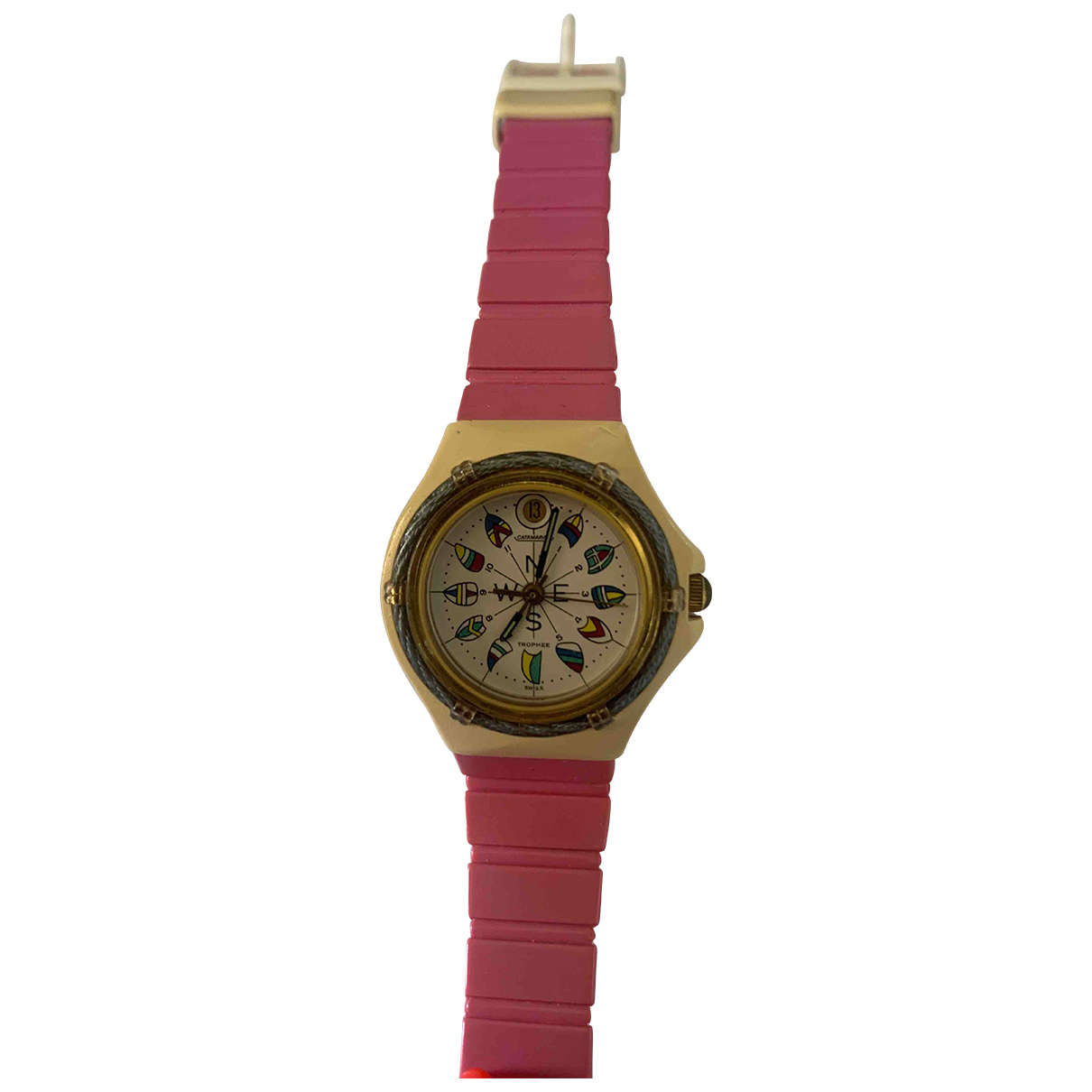 Non Signé / Unsigned \N Ecru Steel watch for Women \N