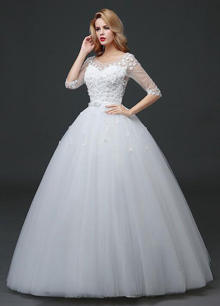Milanoo Princess Wedding Dress Half Sleeve Maxi White Bridal Gown Flowers Applique Backless Sash Floor Length Ball Gown Bridal Dress