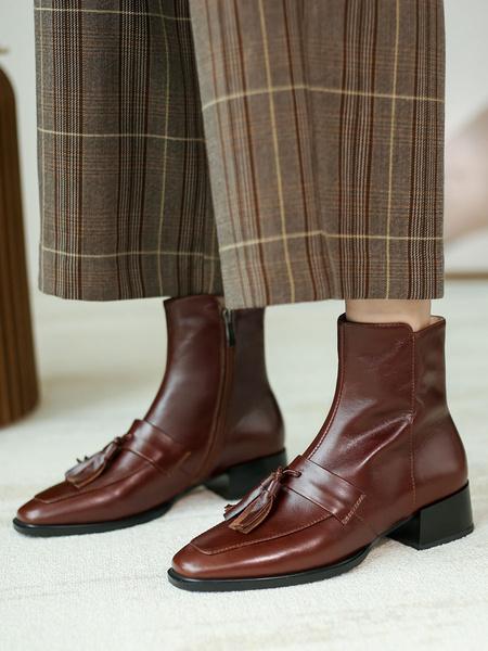 Milanoo Women Ankle Boots Coffee Brown Cowhide Square Toe Puppy Heel Tassels Booties