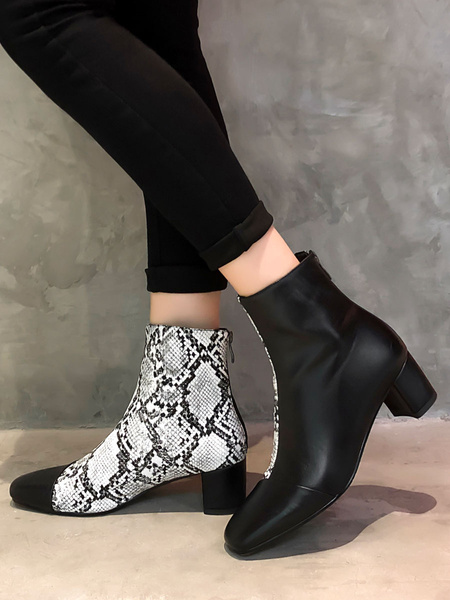 Milanoo Women Leather Ankle Boots Square Toe 2 Block Heel Color Block Bootie