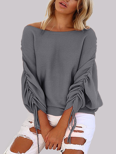 Yoins Grey Lace-up Design One Shoulder Long Sleeves Sweaters