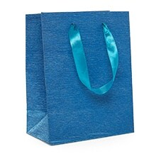 Blue Brushed Metallic Euro Tote - 7 X 3-7/8 X 9-1/16 - Satin Gusset - 3 7/8'' - Quantity: 12 by Paper Mart